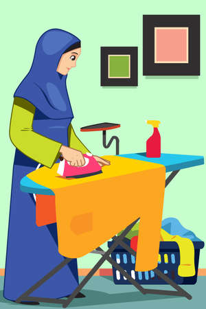 A vector illustration of Muslim Woman Ironing Clothes Illustration