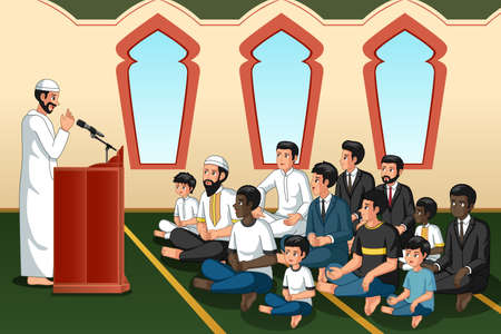 A vector illustration of Muslim Imam Giving Speech in Mosque
