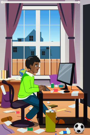 A vector illustration of Teenager Working on His Computer Vector Illustratie