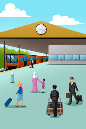 A vector illustration of People in Train Station