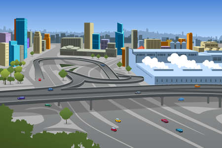 A vector illustration of Highway and Cars in the City