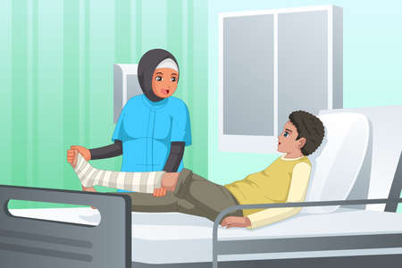 A vector illustration of Nurse Checking on Patient with Broken Leg