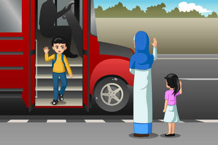 A vector illustration of Mother Picking Up Kid From School Bus