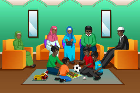 A vector illustration of African Muslim Family Playing in the Living Room Ilustração Vetorial