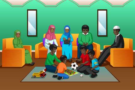Un'illustrazione vettoriale della famiglia musulmana africana che gioca nel soggiorno Vettoriali