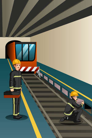 A vector illustration of Subway Workers Working on the Rails