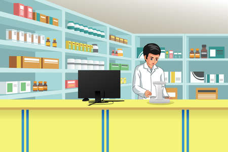 A vector illustration of Working Pharmacist at Pharmacy Иллюстрация