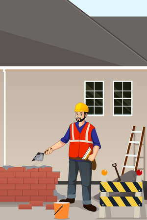 A vector illustration of Working Construction Worker
