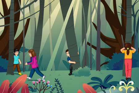 A vector illustration of Children Playing Hide and Seek