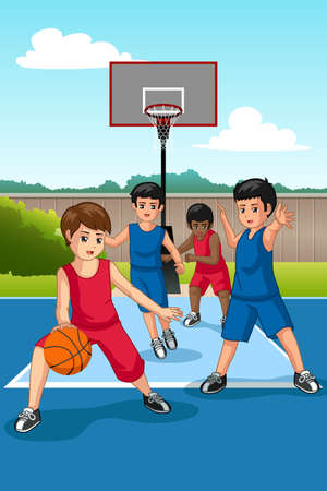 A vector illustration of Multi Ethnic Group of Kids Playing Basketball Illustration