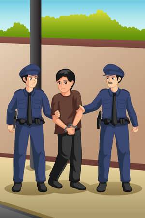 A vector illustration of Police Officers Catching a Criminal
