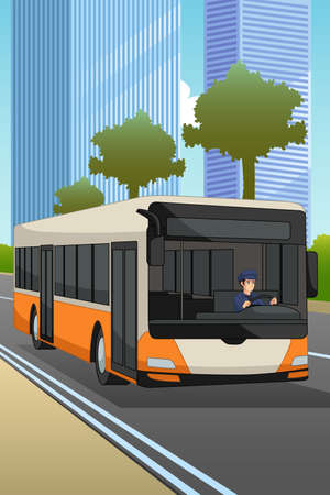 A vector illustration of Bus Driver Driving a Bus