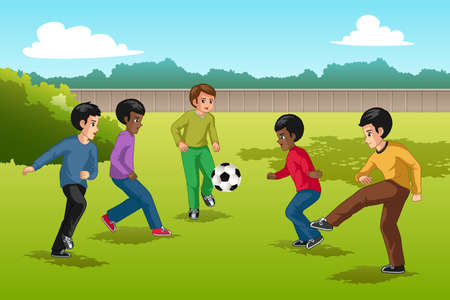 Una ilustración vectorial del grupo multiétnico de niños jugando al fútbol