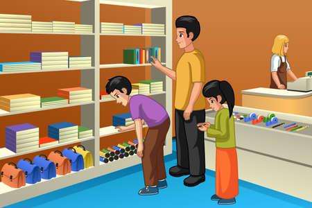 Eine Vektorillustration des Familieneinkaufs für zurück zur Schule