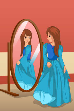 A vector illustration of Girl Wearing a Dress Looking at Mirror Illustration