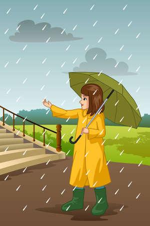 A vector illustration of Girl Carrying Umbrella Under The Rain