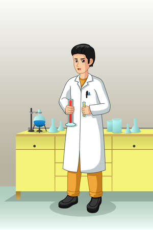 A vector illustration of Scientist Working in Laboratory 向量圖像