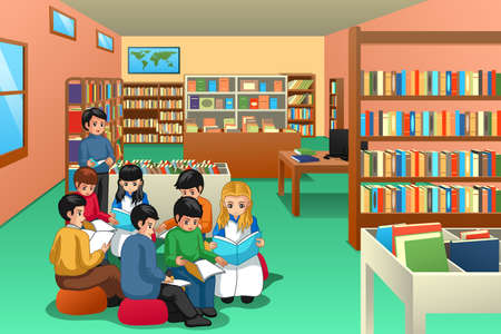 A vector illustration of Group of School Kids Studying in Library 向量圖像
