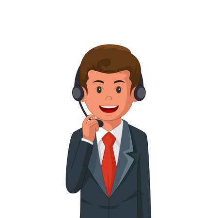 A vector illustration of Businessman Wearing Headset