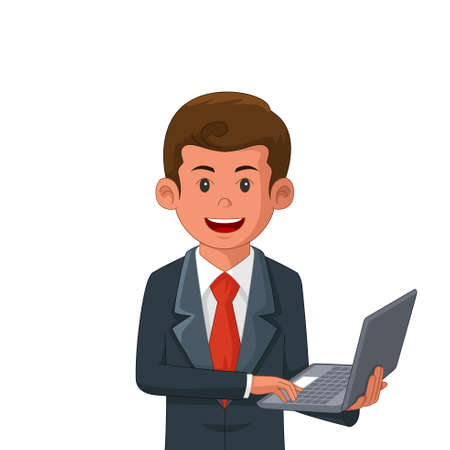 A vector illustration of Businessman Holding a Laptop