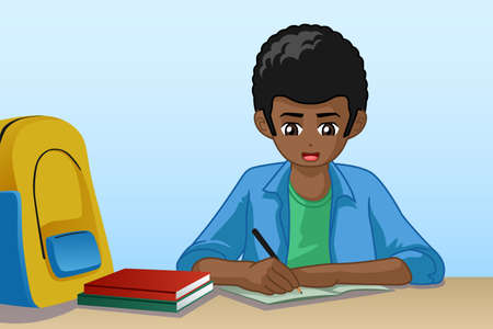 A vector illustration of Little Boy Doing Homework Vettoriali