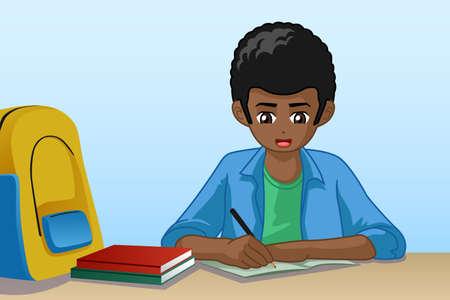 Un'illustrazione vettoriale del ragazzino che fa i compiti