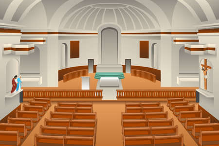 A vector illustration of Interior of a Church  Ilustração