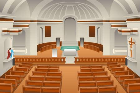 Un'illustrazione vettoriale dell'interno di una chiesa Vettoriali