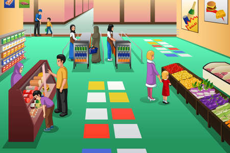 A vector illustration of People Shopping in Grocery Store 版權商用圖片 - 118557091