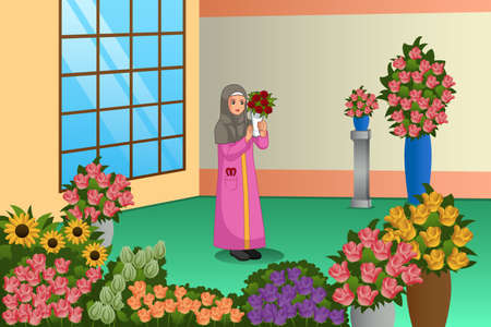 A vector illustration of Muslim Florist Working at the Store
