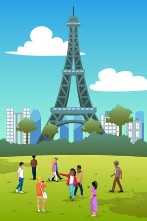 A vector illustration of Tourists in Eiffel Tower France