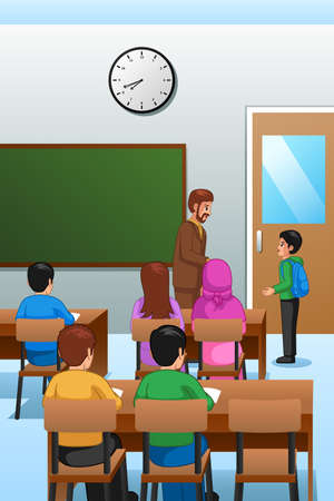 A vector illustration of Students and Teacher in the Classroom