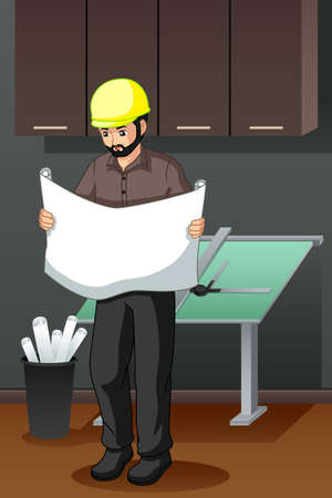 A vector illustration of Architect Looking at Blueprint   イラスト・ベクター素材