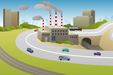 A vector illustration of Factories Plants Cars Highway