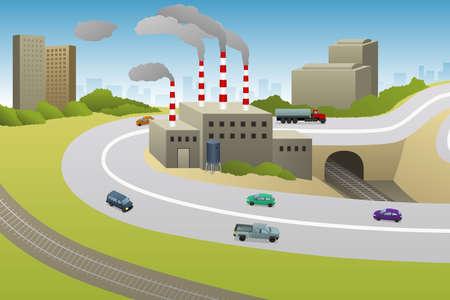 A vector illustration of Factories Plants Cars Highway Archivio Fotografico - 118557096
