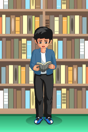 A vector illustration of Student Boy Reading in the Library 向量圖像