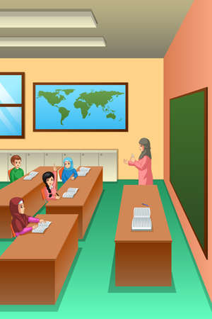 A vector illustration of Students in Classroom 向量圖像
