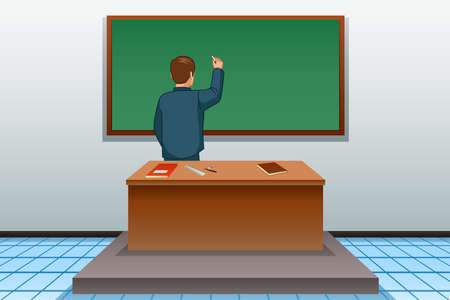 A vector illustration of School Teacher Writing on Blackboard