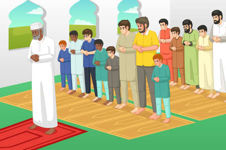 A vector illustration of Muslims Praying in a Mosque 矢量图像