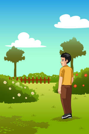 A vector illustration of Man Standing in a Garden Outdoor