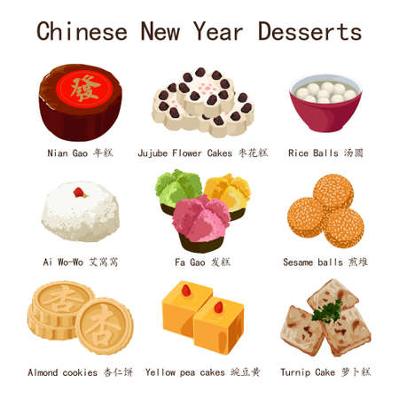 A vector illustration of Chinese New Year Desserts