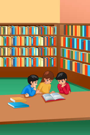A vector illustration of Kids Studying in Library