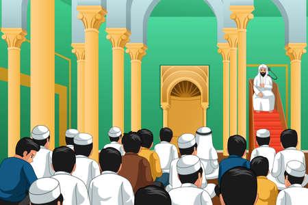 Una illustrazione vettoriale di musulmani che pregano in una moschea Vettoriali