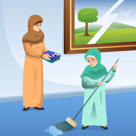 A vector illustration of Muslim Mother and Daughter Doing Chores at Home