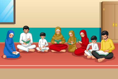 A vector illustration of Muslim Family Studying Quran and Praying at Home