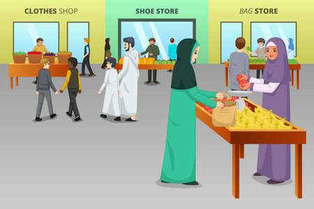 A vector illustration of Muslim People Shopping at a Traditional Market