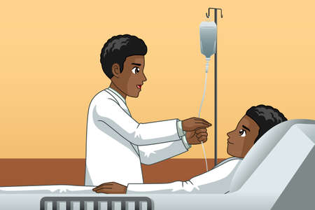 A vector illustration of African Doctor With a Patient