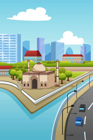 A vector illustration of Mosque in the City Иллюстрация