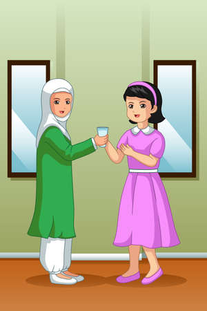 A vector illustration of Muslim Girl Giving Water to Her Friend Illustration