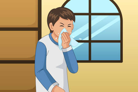 A vector illustration of Sick Man Blowing His Nose on a Tissue Vettoriali